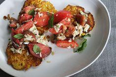 Fresh Corn Cakes with Crab + Tomato Salad