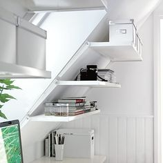 An easy way to maximize storage space in a room with slanted walls. (from thisoldhouse.com)