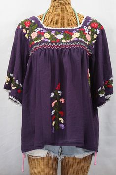 "Siren's ""La Marina"" Embroidered Mexican Style Peasant Top/Blouse in Plum."