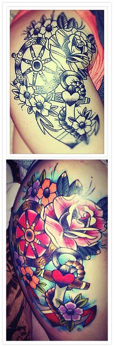 #Tattoo #Thigh #Anchor #Nautical