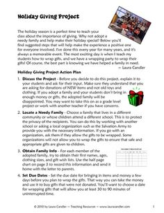 Holiday Giving Project - Adopt a family and teach your students the joy of giving!