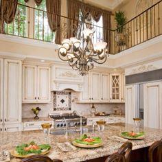 Two level kitchen.