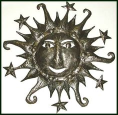"Sun Metal Art Wall Hanging - Haitian Recycled Steel Drum Art - 34"" _ $159.95 -  Steel Drum Metal Art from  Haiti - Interior or Garden Décor   * Found at  www.HaitiMetalArt.com"