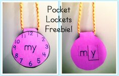 Pocket Lockets freebie!  These are so cute!  Kids put them together and wear them as a necklace!  Great way to introduce and reinforce a new word.