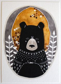Bear Illustration Watercolor Painting - Black Friday Cyber Monday - Large Archival Print - 11x14 Rafi the Honey Bear.