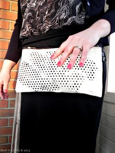 Polka Dot Glitter Clutch with New Mod Podge Stencils