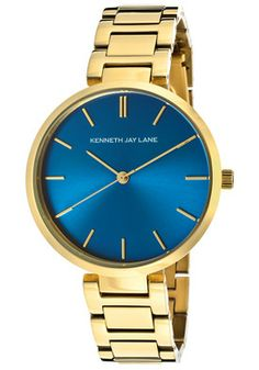 Kenneth Jay Lane Women's Blue Dial Gold Tone IP Stainless Steel