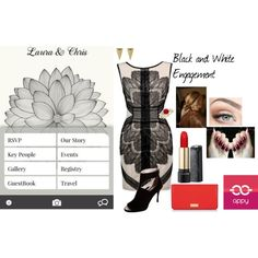 An engagement party outfit inspired by the Black and White app and website design by Appy Couple.