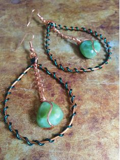 Green Copper Wirewrapped Earrings by ChristensenStudio on Etsy, $28.00