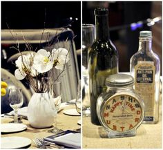 Antique car museum wedding reception details