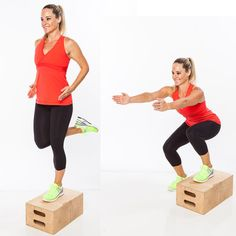 A. Stand to the side of step, with left foot on top of step. Lower into a squat, reaching both arms straight out in front of chest.  B. Rise up out of squat, and as legs extend, shift weight into left leg and stand up on top of step, bending right knee and curling heel behind body as you tighten abs, squeeze inner thighs together, and bend elbows behind torso. Step back to the starting position, and repeat. Complete all reps on the first side; then switch…