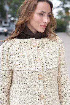 Softee Chunky Textured Yoke Cardigan free crochet pattern