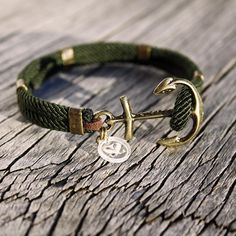 Nautical sailor's anchor bracelet, waterproof moss green with brass accents - New Haven Bracelet. $26.00, via Etsy.