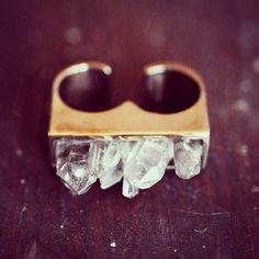 Pamela Love crystal double ring.