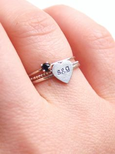 Set of Stacking Rings Personalized Heart Initial Ring by proteales