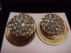 Vintage Rhinestone  Clip Earrings Reduced by vintagecitypast, $15.00