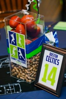 Centerpieces for a sports themed celebration