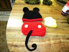 Mickey mouse  DIAPER COVER AND HAT AND booties  BY https://www.facebook.com/pages/Gemini-Creations-Fountain-Florida/219370691435531