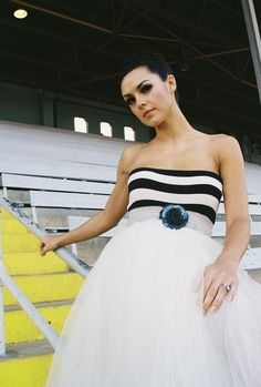 Strapless Black and White Striped Carnival Party Dress by ouma, $200.00