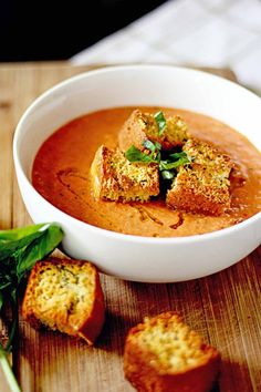 gazpacho with basil cornbread croutons