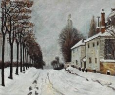 Alfred Sisley - Snow on the Road, Louveciennes - overstockArt.com