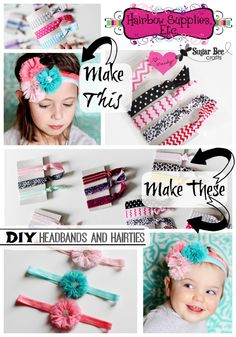 here's how to makeEasy Elastic Hair Ties and Headbands (no sew!) - and where to buy the fun elastic (with Hairbow Supplies, Etc) ~ Sugar Bee Crafts