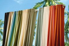 New Outdoor Curtain panels made of Sunbrella® all-weather, UV-protected fabric that resists stains and mildew. Also available in Sheer.