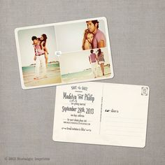 """Vintage Save the Date Postcard - the """"Madelyn 4"""". $39.00, via Etsy."""