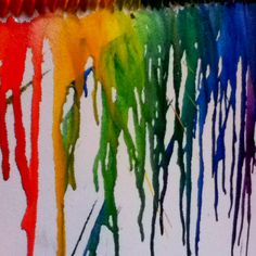 Gluing crayons onto a canvas with a hot glue gun then melt away with a blow dryer! Great art project for your teen!