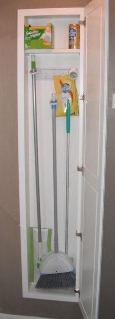 Recessed broom closet