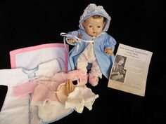 "Vintage Effanbee Dy-Dee Doll Baby  12"" Brunette with her Dy-Dee Doll Pajamas and MORE"