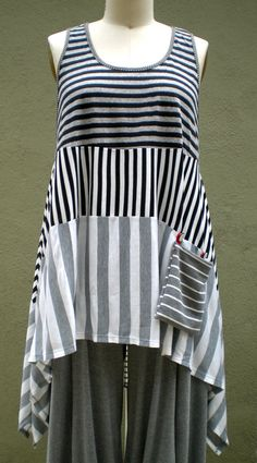 drop pocket, tunic, sewing plus size clothes, pockets, pocket tankvest, stripes, graphic art, art clothes, art drop