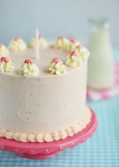 Strawberry Layer Cake with Whipped Strawberry Frosting. #cake