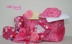 This listing includes:  1 baby doll diaper diaper bag  1 baby doll sized receiving blanket 1 wipes case with 5 wipes  2 baby doll bibs