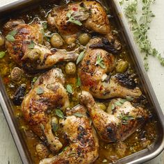 Roast chicken with dates, olives and capers