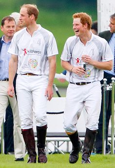 Princes William and Harry are sweaty and rosy-cheeked after taking part in the Audi Polo Challenge in Ascot, England on May 31