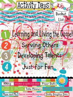 A wonderful list of ideas that you can do for Activity Days.