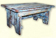 A distressed reclaimed wood bench.  Pretty cool lookin'.