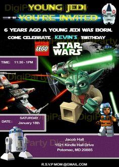 Star Wars lego birthday invitation at https://www.etsy.com/listing/173197328/star-wars-birthday-party-same-day
