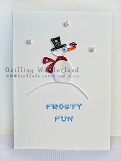 #Christmas greeting card - quilled snowman paper quilling.  via @Etsy.