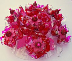 Plastic bottle Cake Topper in Red and Pink