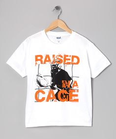 White 'Raised in a Cage' Lacrosse Tee - Boys   Daily deals for moms, babies and kids