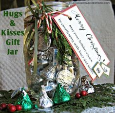 Hugs and Kisses Gifts + a FREE Printable Tag - who wouldn't LOVE to receive this? Fantastic neighbor or teacher gift idea.
