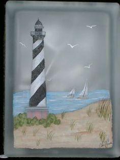 painted glass blocks, paint glass, lighthous
