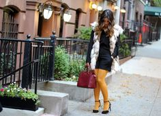 Mustard Tights & Fur Vest