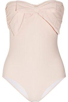 bow embellished bandeau swimsuit ++ miu miu