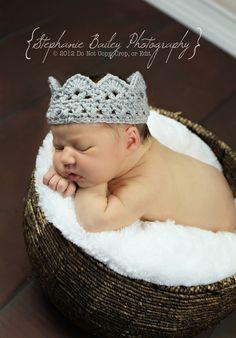 Baby Crown Crochet Crown Silver Crown Prince Crown Princess Crown Newborn Crown Mini Crown Newborn Photography Prop Photo Prop. $14.00, via Etsy.