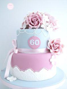 60th Birthday Cake Ideas - Beautiful pink/purple and blue flower tier cake