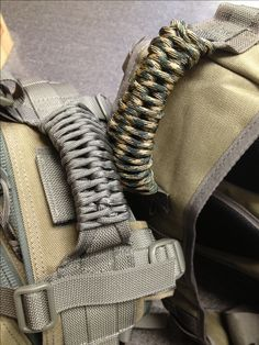 Paracord wrapped handles on maxpedition backpacks - around 15ft and easy to untie!