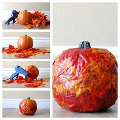 Girl Loves Glam: Leaf Covered Pumpkin Tutorial #fall #decor #diy